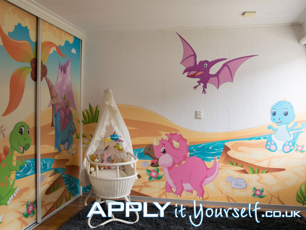 wall mural, large stickers, sticky textile, cut-to-shape, baby room, nursery