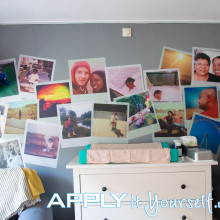 wall mural, polaroids, custom design, removable, temporary, baby room, nursery