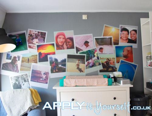 Wall mural, polaroids, custom design, removable, temporary, baby room, nursery