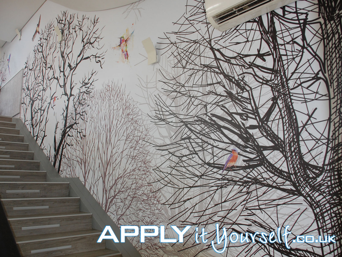 wall mural, sticky, textile, large, office