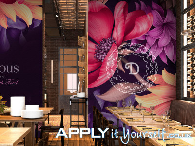 wall mural, sticky, textile, large restaurant, removable, temporary