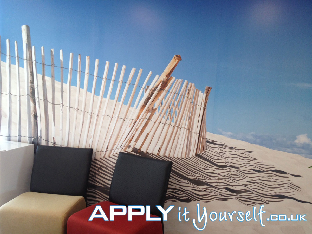 wall mural, textile, waiting room, office, temporary, removable