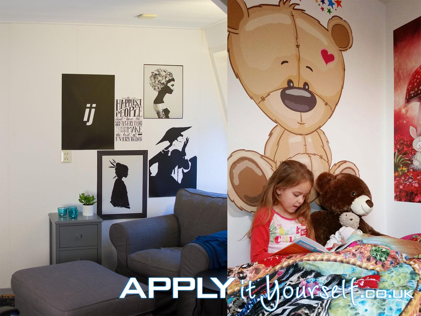 wall mural, textile prints, cut-to-shape