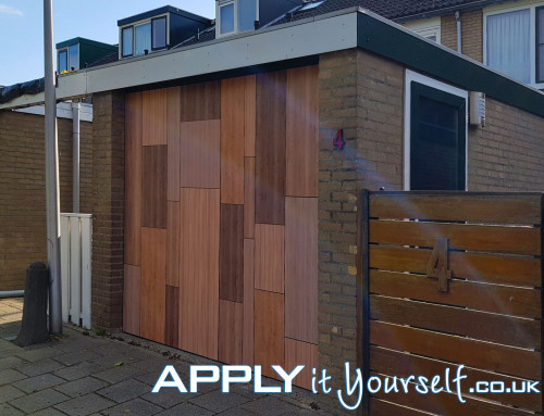 Wall sticker, bespoke, large, outdoor, garage door, wood pattern