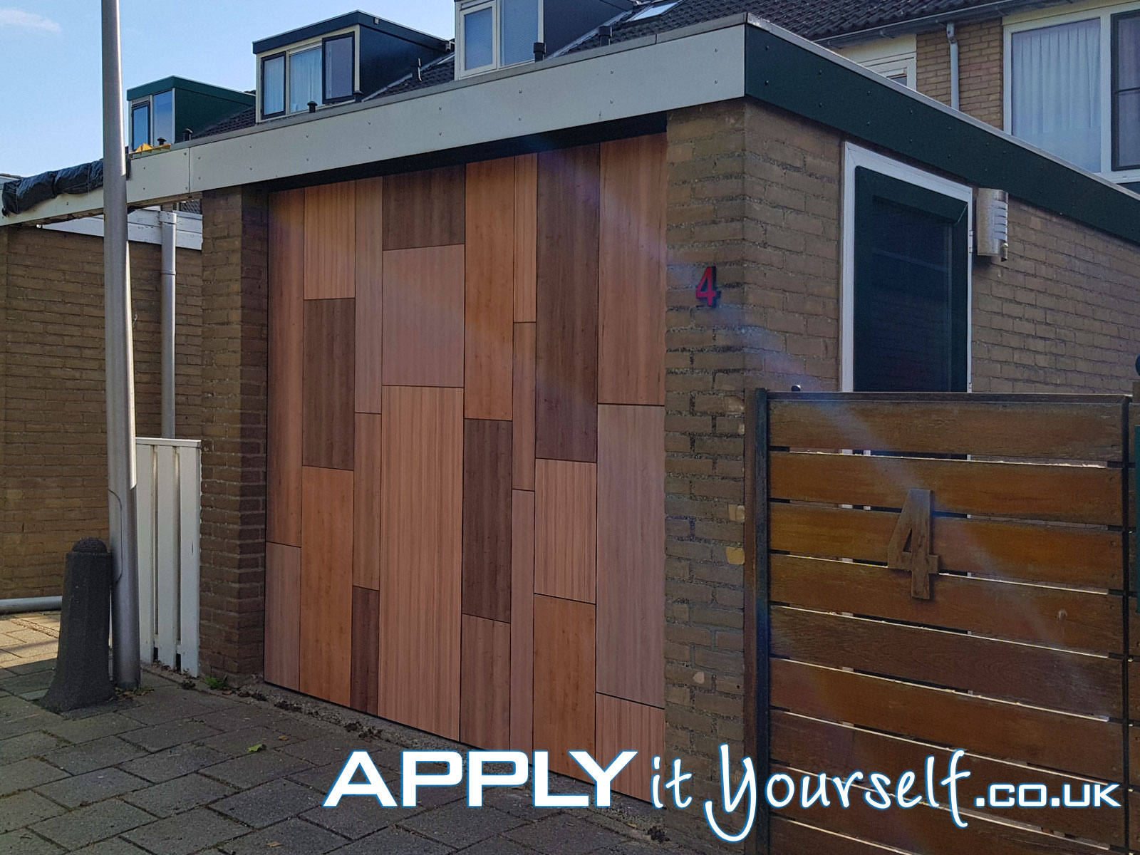 wall sticker, bespoke, large, outdoor, garage door, wood pattern