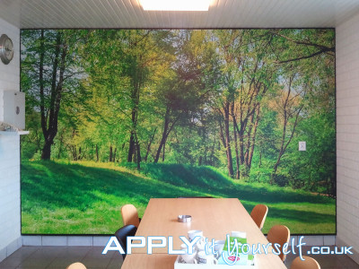 wall sticker, large, bespoke, mural, mat vinyl, forest, trees