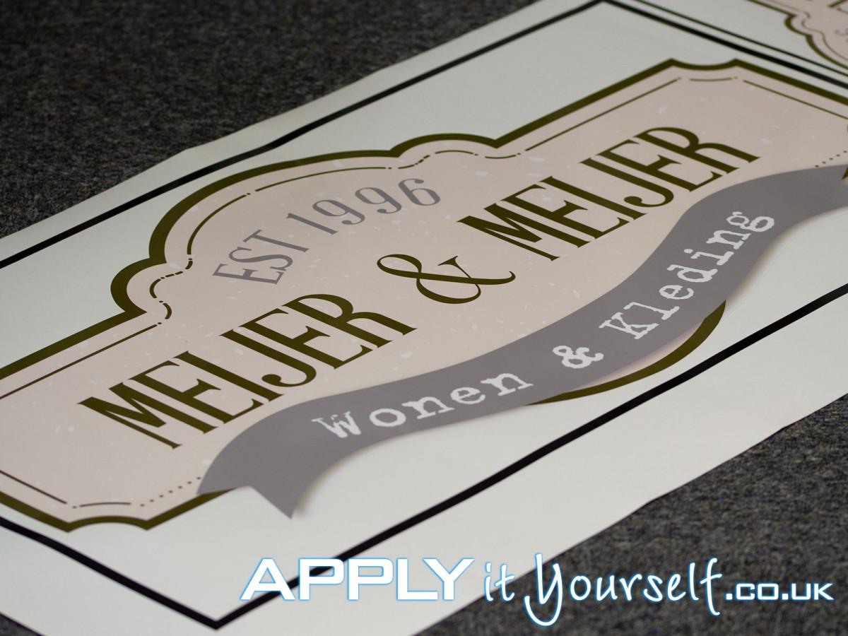 wall sticker, small, cut-to-shape, logo