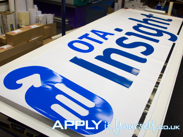 wall sticker, very large, cut-to-shape, logo, texts, office wall