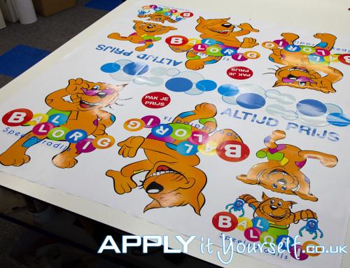Wall stickers, sheets, custom, cut-to-shape, branding