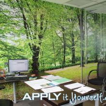 wall stickers, custom, mural, walls, mat, vinyl, office walls, forest, trees