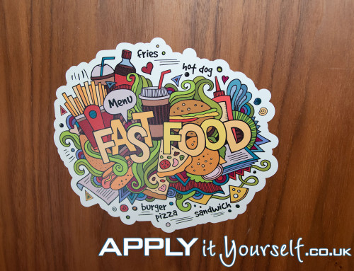 Floor decal, cut-to-shape, die cut, fast food, restaurant