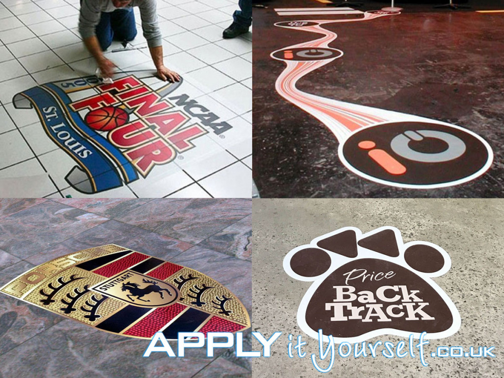 floor stickers, floor decals, floor graphics, cut to shape
