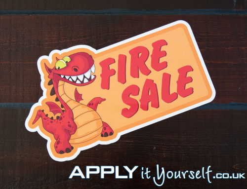 Floor sticker, custom shape, die cut, sales, fire sale, red, carpet