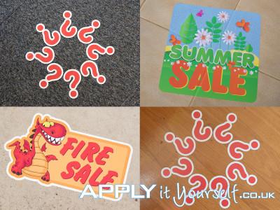 floor stickers on concrete, wood, carpet or stone floors