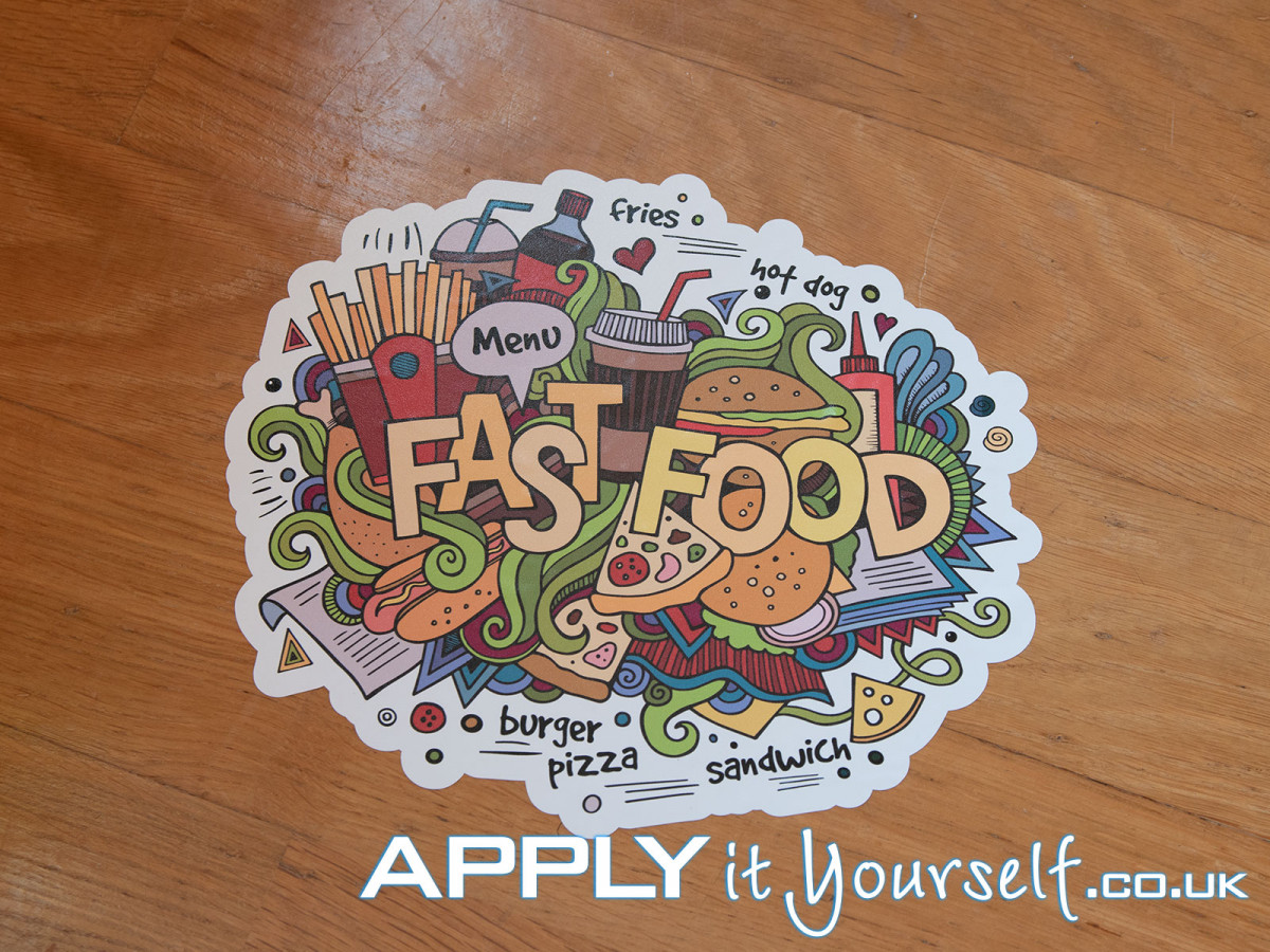 floor stickers, fast food, cut-to-shape, bespoke
