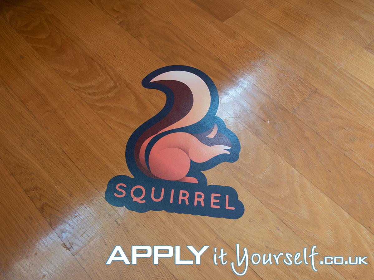 floor stickers, logo, custom shape, wooden floor