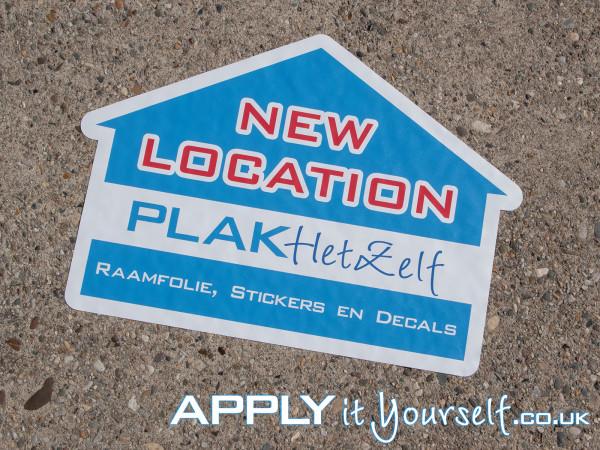 floor stickers, new location, bespoke shape